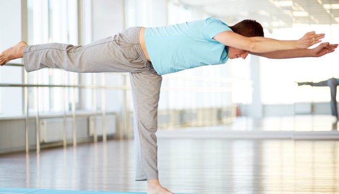 Man practicing yoga asana